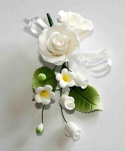 FORMAL ROSE SPRAY SMALL WHITE Sugar Flowers Cake Topper, Sugar Paste, Weddings