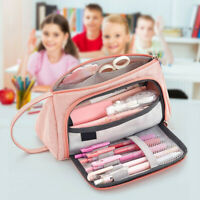 Student Pen Pencil Bag Case Zip Cosmetic Canvas Large Capacity School Boys Girls