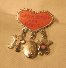 "Lovely Danecraft Small Heart ""Grandmas are Great!"" Dangles Silvertn Brooch Pin"