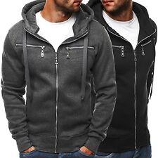 Unifarbene Herren-Kapuzenpullover mit normaler Länge aus Baumwolle