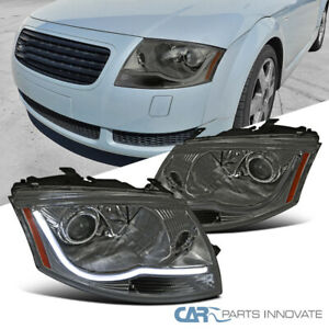 For 99-06 Audi TT LED DRL Smoke Lens Projector Headlights Tinted Head Lamps Pair