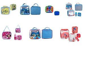 Kids Girls Boys Disney Lunch Box Bag Set with Water Drink Bottle School Nursery