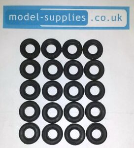 Dinky 17mm Black Treaded Reproduction Tyres Fits all Transit