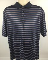 Nike Golf Fit Dry Polo Shirt Mens Size Large Rugby Striped Short Sleeve Athletic