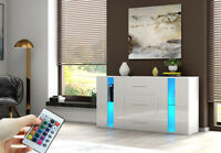 Modern High Gloss Sideboard Cabinet Cupboards FREE LED White With Drawers Doors