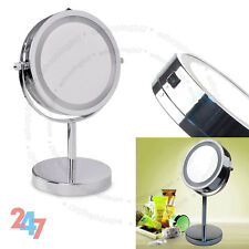 Bathroom Make Up Dressing Vanity Mirror Illuminated Round Magnifying LED Gift