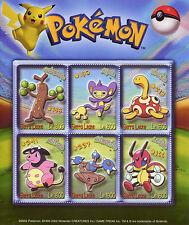 Sierra Leone 2002 MNH Pokemon 6v M/S Sudowoodo Aipom Shuckle Miltank Stamps