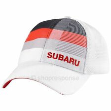 Subaru Logo Front Stripe Mesh Cap Hat Embroidered White/Red Adjustable Official