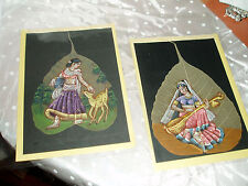 """2 Antique / Vintage Hand Painted Pictures on PEEPAL LEAF, 91/4"""" x 6 1/2"""""""