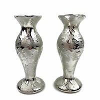 Tg Lot Of 2 Mid Century WEEPING SILVER Drip Glaze Taper Candle Stick Holders