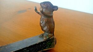 Vintage Brass Mouse Holding Door Stop Stopper With Black Wood Wedge Unique