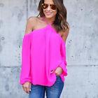 Boho Mujer Hombro Descubierto Holgado Blusa Tops Verano Playa Camiseta Ocasional