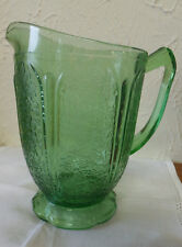 ANTIQUE  JEANNETTE GLASS GREEN DEPRESSION CHERRY BLOSSOM  AOP PATTERN PITCHER