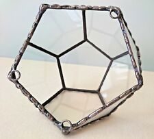 TERRARIUM Dodecahedron Geometric Indoor Wall Hanging Stained Glass Copper frame