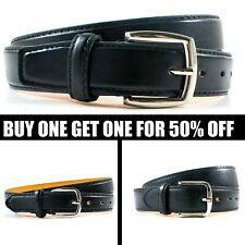 Men's Black Genuine Leather Causal Jean Dress Buckle Belt Strap Snap Size M L XL