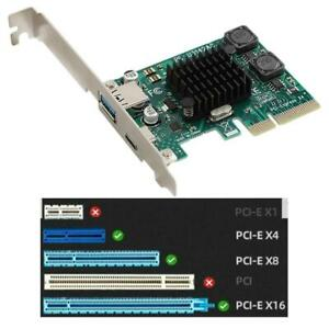 PCI-E PCI Express 4X to USB 3.1 2-Port Type-A+Type C Expansion Card Adapter FOY