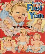 Vintage Uncut 1945 Babys 1St Year Paper Dolls Hd~Laser Org Sz Reproduction~Lo