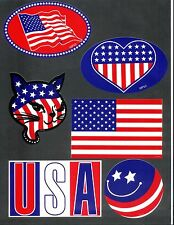 Lot of 6 USA United States Of America Flag Patriotic Stickers Pride Military
