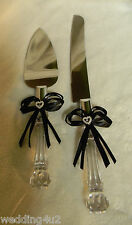 Wedding Party Reception Birthday ~2 Psc Set~ Cake Knife & Server Black Bows