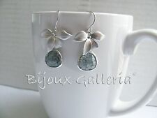 Silver Plated Orchid with Glacier Charcoal Gemstone Teardrop Dangle Drop Earring
