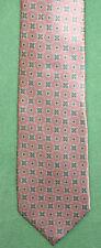 Burma Bibas Pink Silk Tie Blue Geometric Pattern RET 65 NWTS GORGEOUS