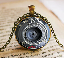Vintage camera Cabochon Tibetan Bronze Glass Chain Pendant Necklace #T14