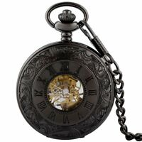 Black Steampunk Retro Pocket Skeleton Watch Mechanical Chain Fob Wind up Vintage