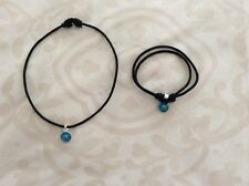 925 STERLING SILVER EVIL EYE LIGHT BLUE CHARM SLIDING  CORD BLACK BRACELET