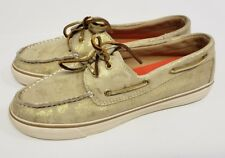 Sperry Top Sider Bahama Gold Metallic Camo Shimmer Womens Size 9.5M GUC
