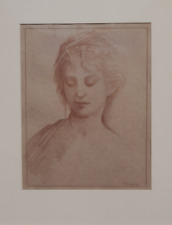 OLD MASTER CLASSIC DRAWING OF AN ELEGANT BEAUTY.   FREE SHIPPING.