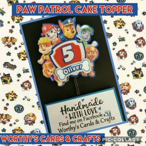 Paw Patrol inspired Personalised Birthday Glitter Card Cake Topper/Pick Layered