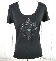 Womens Harley Davidson Knit Shirt Studded Small Black S Ruched Short Sleeve Top