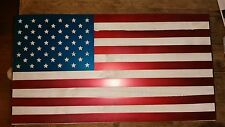 "USA WOOD AND METAL FLAG  24""  Hand Made in Waco Texas wall art decore"