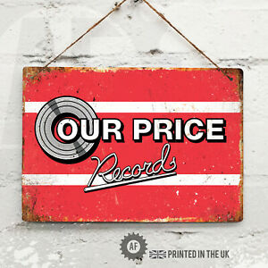 OUR PRICE RECORDS Metal Wall Sign Pub Bar Home Mancave Retro 80s 90s vinyl UK
