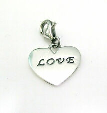 "Funky 925 SOLID Sterling Silver ""For My Love"" Clip on Heart Charm"