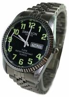 Reloj de Hombre Swanson Japan Silver, Fecha,Dia, Numeros, Fosforesentes Nuevo