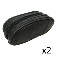 Toiletry Zipped Pouch Bag Real Leather Overnight Weekend Case Small Black x2