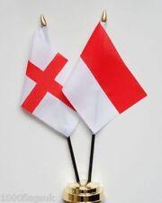 England & Monaco Double Friendship Table Flag Set
