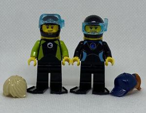 NEW LEGO Divers SCUBA Diver Pair Snorkel GENUINE Minifigure 60221 Mini Figure