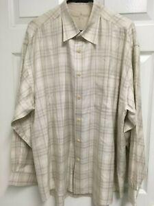 JOHNNY WALKER Men Long Sleeve Button Front Plaid 80% Silk Tencel Shirt XL NEW