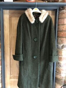 Vintage 1950s Aireton Tweed Wool Coat With Fur Collar Size 14 16 Ex Con