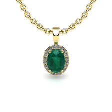 """14K YELLOW OR ROSE GOLD 0.90CT OVAL EMERALD AND HALO DIAMOND PENDANT W/18"""" CHAIN"""
