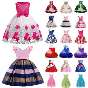 Kids Girls Princess Dress Wedding Ball Gown Party Sleeveless Birthday Dresses US