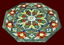 27 Inches Marble Green Coffee Table Top Inlay Sofa Table with Decent Pattern