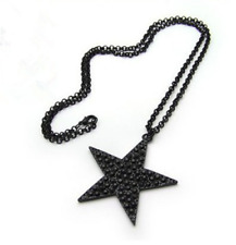 Black Star Long Sweater Necklace, Rivet Stud, Punk Goth Gothic, Lolita