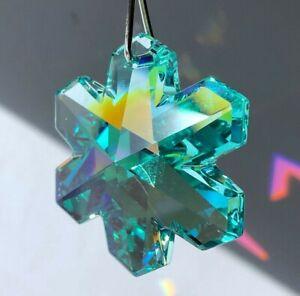 Swarovski 35mm Snowflake Austrian Crystal Antique Green AB Coated Prism w Logo