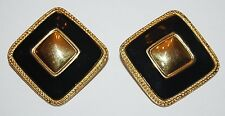VINTAGE 80'S PREMIER RUNWAY COUTURE BLACK ENAMEL & GOLD SQUARE CLIP ON EARRINGS