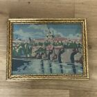 Petit Point Embroidered Framed Charles Bridge  Prague Circa 1940 Vintage