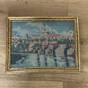 Vintage Petit Point Embroidered Framed Charles Bridge, Prague Circa 1940