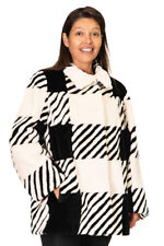 Black and White Sheared Beaver Fur Jacket – size 12-14